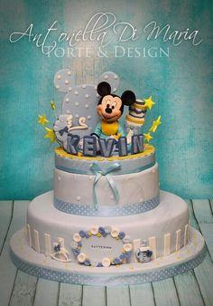 Battesimo Mickey Birthday Cakes, Mickey Mouse Birthday Cake, Fiesta Mickey Mouse, Mickey Mouse Baby Shower, Mickey Cakes, Minnie Mouse Cake, Cupcake Party, Cupcake Cakes, Donald Duck Cake