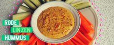 Rode linzen hummus