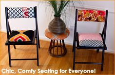 Folding Chair cushion step-by-step tutorial.  I have some IKEA folding chairs that I would like to try this on.