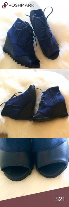 """Navy suede zip-up booties -Euro 39/USA 7.5 - 8. Suede navy on black footbed. Side zipper, lace ties, nice stitching detail and jagged sole. Wedge style. Height 3"""" at heel.  Man made sole (not leather).  They look like little kids shoes when you see them, but they are an 8 (even though labeled a Euro 39). It does seem a 7.5 may work better for this shoe (I prefer my toes inside the toe bed a little further than these run). Like new. Wore once for a couple of hours (mostly sitting). You can…"""