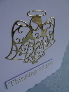 Angel with sympathy card. This handmade angel card with has an angel made with foiled gold or silver card.  This Angel sympathy card has a foiled gold or silver angel on white card. The sentiment is in gold or silver metallic ink and added with 3D foam and reads: Thinking of you (you can also pick alternative messages from the drop-down menu for this condolences card). This thinking of you card has a beautiful scalloped edge, reminiscent of fluffy white clouds.  This card would be suitable… Orange And Purple, Pink Blue, Condolences Card, Handmade Angels, Deepest Sympathy, Hand Logo, Angel Cards, White Clouds, Pet Loss
