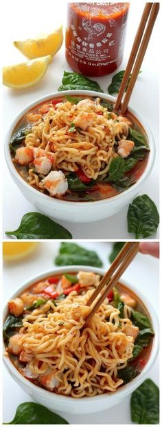Sriracha Shrimp Ramen - Baker by Nature Ramen Noodle Soup, Ramen Noodle Recipes, Ramen Noodles, Fish Recipes, Asian Recipes, Healthy Recipes, Asian Desserts, Shrimp Noodles, Ramen Bowl