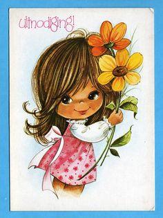 Postcard vintage 70s, big eye doll card. Cute girl with 2 big flowers.. $4.25, via Etsy.