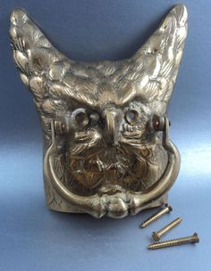 Brass Door Knocker Owl Shaped Unusual Vintage