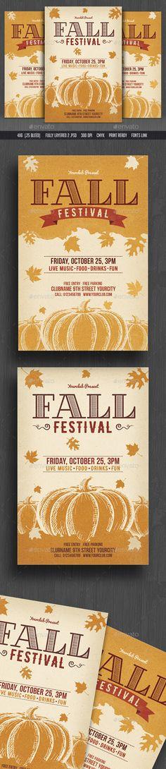 Fall / Autumn Festival Flyer Template PSD. Download here: https://graphicriver.net/item/fall-autumn-festival-flyer/17443732?ref=ksioks