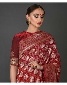 Red Banarasi Zari Bandhej Pure Georgette Saree Best Indian Saris Press VISIT link above for more options Pure Georgette Sarees, Bandhani Saree, Indian Dresses, Indian Outfits, Designer Blouses Online, Saree Jewellery, Drape Sarees, Sari Design, Indian Wedding Wear