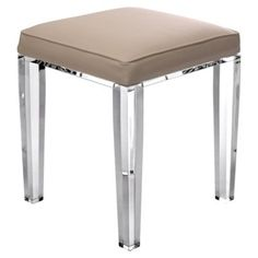 Check out this item at One Kings Lane! Elise Stool, Clear/Beige