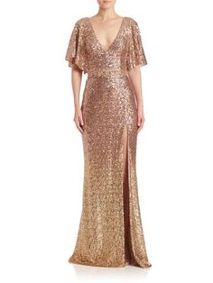 MARCHESA Sequin Embellished Gown. #marchesa #cloth #gown