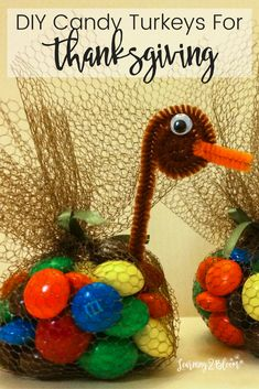 These are the perfect DIY candy turkeys to use for Thanksgiving table toppers or treats to send home.