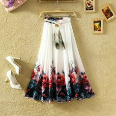 Beautiful Floral Printed Chiffon Skirt | Shopo.in