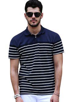 Doublju Mens Blue 3 4 Stripped Polo Shirts  doublju 74dc2c5e13b77
