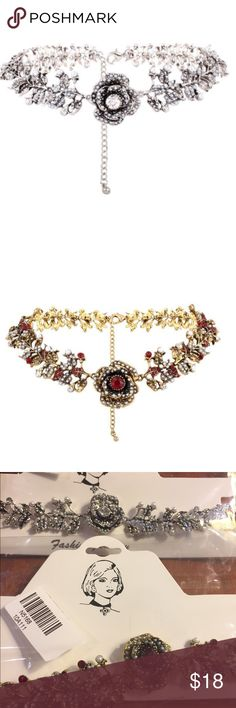 BUY 2 GET 2 FREE ROSE CHOKER Silver or gold. Rhinestones faux pearls and faux gems adorn this pretty choker.  Silver or gold Jewelry Necklaces