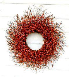 Fall Wreath-Fall Door Decor-ORANGE Door Wreath-Fall Twig Wreath-Rustic Berry Wreath-Autumn Berry Wreath-Fall Home Decor-Choose Scent & Size