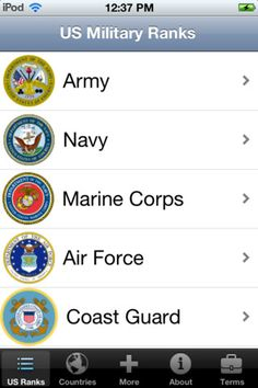 MILITARY RANKS by Bizpo FREE www.operationwearehere.com/apps.html