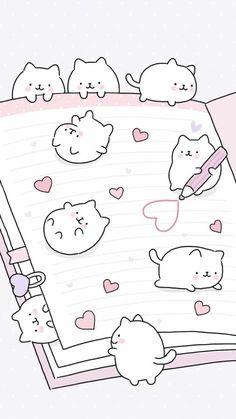 Wallpaper iphone cute doodles 34 Ideas for 2019 Kawaii Doodles, Cute Kawaii Drawings, Cute Animal Drawings, Cute Cat Drawing, Cute Wallpaper Backgrounds, Cute Cartoon Wallpapers, Wallpaper Iphone Cute, Animal Wallpaper, Diy Kawaii