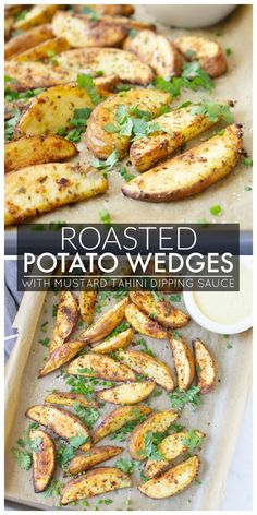 Roasted Potato Wedges with Mustard Tahini Dipping Sauce - This Savory Vegan