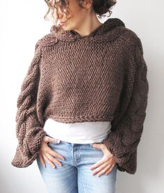 Plus Size Knitting Sweater Brown Capalet with Hoodie Over by afra