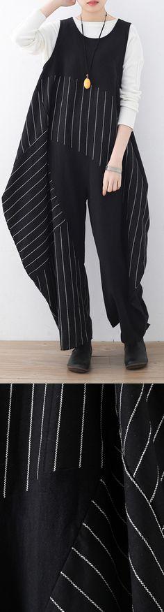 0a97541809d 2018 new black striped asymmetric cotton trousers plus size women jumpsuit  pants