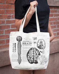 Anatomical Brain Vintage Science Tote bag by Cognitive Surplus