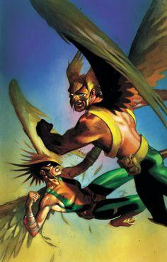Hawkman and Hawkgirl having it out, in Steve Hendricks's DC Comics Comic Art Gallery Room Batwoman, Nightwing, Hawkgirl, Dc Comics Superheroes, Dc Comics Characters, Dc Comics Art, Red Hood, Aquaman, Comic Book Covers