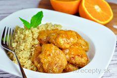 Kuracie prsia v pomarančovej omáčke s quinoou Tofu, Quinoa, Chicken, Meat, Cooking, Ethnic Recipes, Fitness, Fine Dining, Kitchen