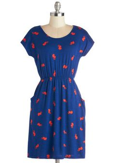 This would be the cutest little day dress for summer. It has little seahorses on it! :) Under the Seascape Dress, #ModCloth