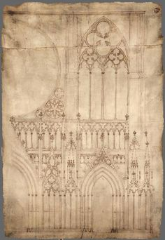 Dibujo de detalle de la fachada de la catedral de Estrasburgo -23