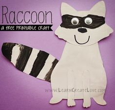 Printable Raccoon Craft (The Kissing Hand or other Chester the Raccoon book) Alphabet Crafts, Letter A Crafts, Forest Animals, Woodland Animals, Forest Animal Crafts, Woodland Forest, Raccoon Craft, The Kissing Hand, Nocturnal Animals