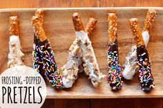 Coat pretzels with candy. | 14 Unexpected Things You Can Do With A Can Of Frosting