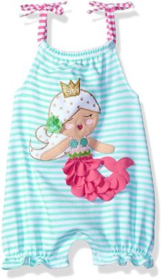 c186649b1 Mud Pie Baby Girls' Bubble Romper, Mermaid, Months: These stylish one piece  bubbles from Mud Pie are both comfy and convenient! with inner leg snap  closures ...