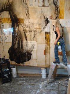 ✏ Space to Create ✏ artist studios & creative workrooms - Ashley Collins at work in her studio