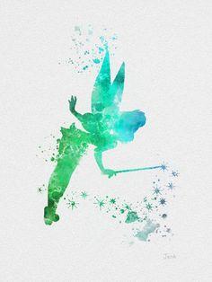 "Disney Tattoo - Tinker Bell Fairy, Peter Pan ART PRINT 10 x 8 ""illustration, Disney, techni - Dekoration Ideen Peter Pan Art, Disneyland, Tinkerbell, Pixar, Watercolor Disney, Watercolor Water, Tattoo Watercolor, Disney Mignon, Disney Wall Art"