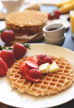 {Vegan gluten free oatmeal waffles.}