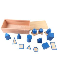 Montessori-Geometric Solids with Stand, Bases, and Box