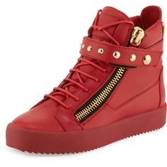 Giuseppe Zanotti Men's Stud-Strap Leather High-Top Sneaker ($669) ❤ liked on Polyvore featuring men's fashion, men's shoes, men's sneakers, red, mens hi top shoes, mens sneakers, mens red shoes, mens velcro strap sneakers and mens shoes