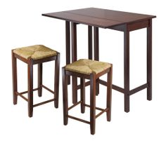 3 Piece Drop Leaf Table with Rush Seat Stool