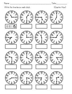 Clocks - Tell Time to the nearest Hour, Half Hour, Quarter Hour, and 5 minutes Clock Worksheets, 3rd Grade Math Worksheets, Math Workbook, Printable Math Worksheets, School Worksheets, 1st Grade Math, Math Literacy, Preschool Math, Teaching Time