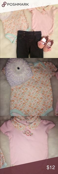 Darling baby girl matching set Two floral onesies size 3-6 months paired with denim jeggings size 3-6 months. White flower hat included for a darling outfit. Pink glitter slip ons not included but can purchase in separate listing.  Items washed and worn but in good condition. Matching Sets