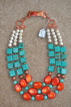 Tripple strand coral & turquoise necklace by Momma Rocks/Thelma Wilson
