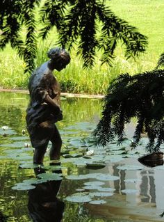 statues+wassenaar | bronze statue in the pond behind the town hall of wassenaar south ...