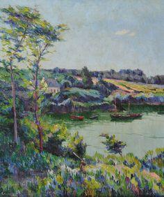 """Marius Gourdault (1859-1935), """"Le Fond du port de Douélan"""", huile sur toile"""