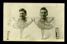 2 men dance in photo cutout, about 1910 rppc #vintage #shenanigans