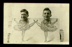 Two men dance in photo cutout - vintage arcade photo card.