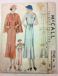 Pattern for a dress and cape, 1930s.