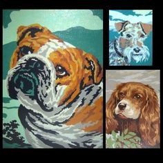 even better~frame vintage paint by numbers of dogs off etsy or ebay!