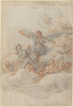 Angels and Putti in the Clouds, chalk over graphite 1566, by Federico Zuccaro