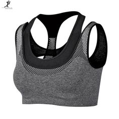e1479d884b Professional Sports Mesh Women Fake Two-piece Hot Sexy Push-up Sports Bra  Yoga Fitness Vest Bra Workout Running Tank Top Bra