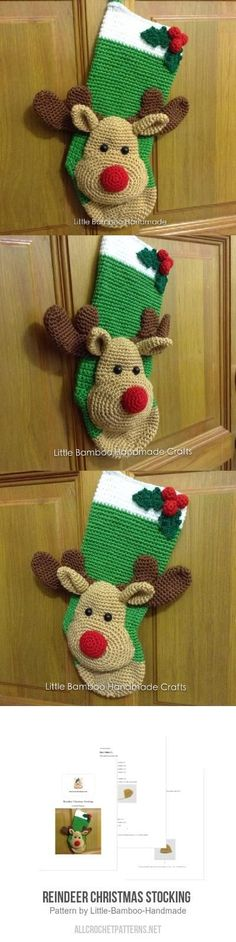 Reindeer Christmas Stocking Crochet Pattern for purchase