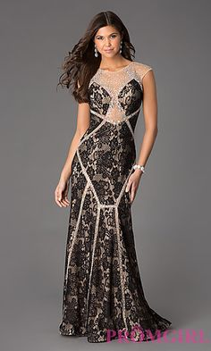 Floor Length Lace Dress by Rachel Allan at PromGirl.com