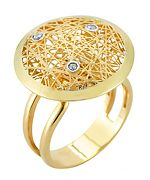 I. Reiss Round Nest Diamond Gold Cocktail Ring